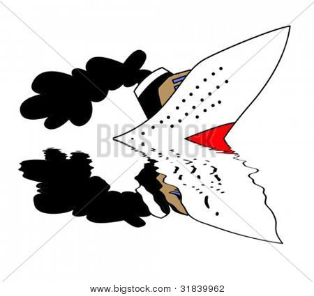 sinking nave on white background, vector illustration