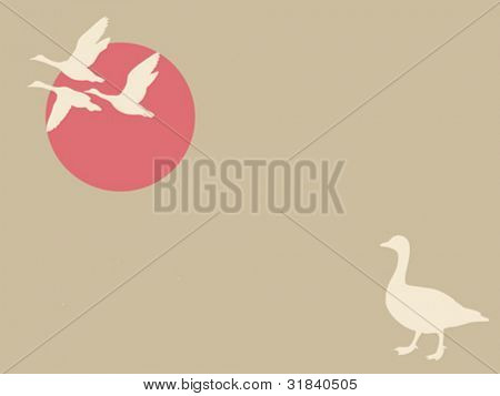 geese on brown background, vector illustration