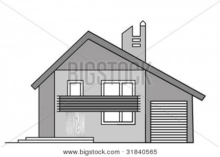 house drawing on white background, vector illustration