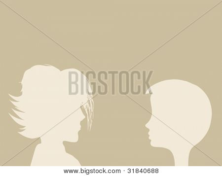 two heads silhouette on brown background, vector illustration