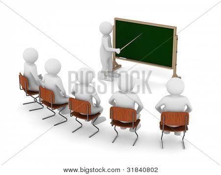 Profesor con el puntero en la pizarra. Imagen 3D aislada
