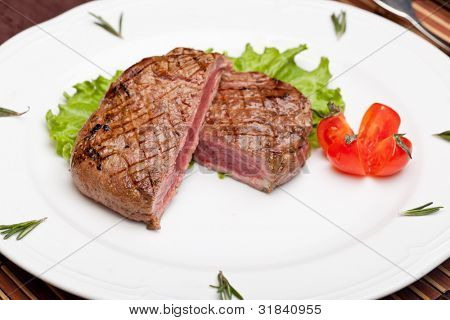 Grilled steak chargrilled to medium rare