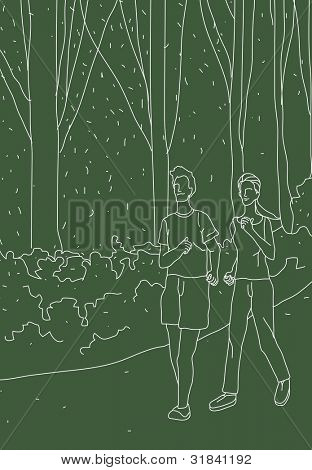 Sketch for Joggers on green background