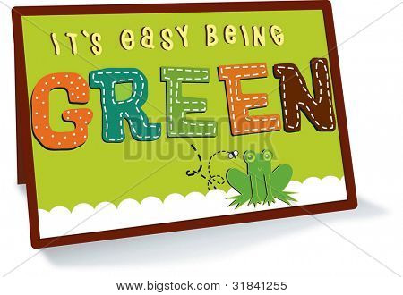 Green Message Card isolated on white background : vector illustration