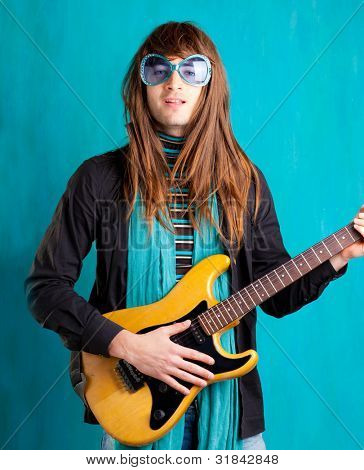 humor retro vintage hip heavy seventies guitar player with sunglasses