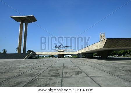 RIO DE JANEIRO, BRAZIL - JULY 17:  The Tomb of the Unknown Soldier at the platform of the Monument to the Pracinhas is shown July 17, 2005 in Rio de Janeiro, Brazil.