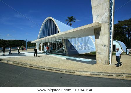 BELO HORIZONTE, BRAZIL - JULY 22: Tourists walk outside the church of Sao Francisco de Assis July 22, 2005 in Belo Horizonte, Brazil. Built by Oscar Niemeyer it is also known as the Church of Pampulha.