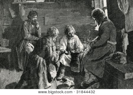 Shoemaker. Engraving by Kazakov  from picture by Pavlov. Published in magazine
