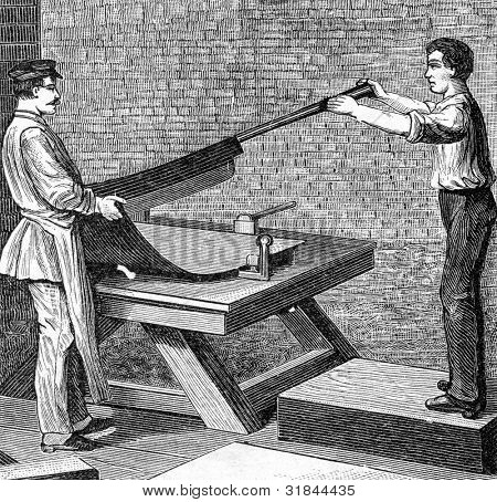 Factory for production of fountain pens. Sawing of steel strips. Engraving by  Shyubler. Published in magazine
