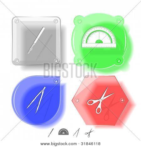 Education icon set. Scissors, ruling pen, protractor, caliper. Glass buttons. Vector illustration. Eps10.