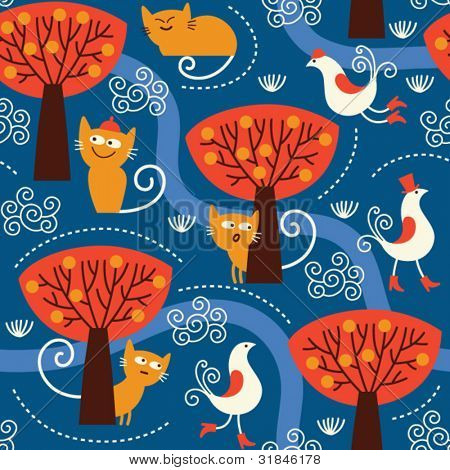 seamless pattern with cute cats and birds