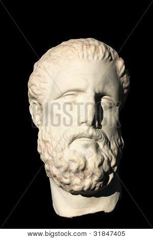 A photo of old Greek skulpture over black