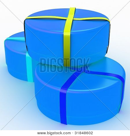 Gift box with a bow on white background
