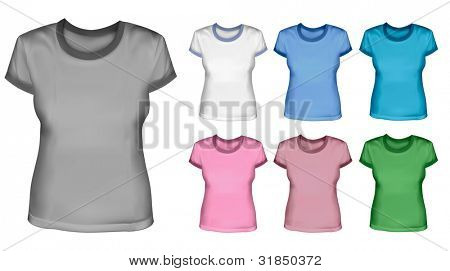 Set of female shirts. Vector.