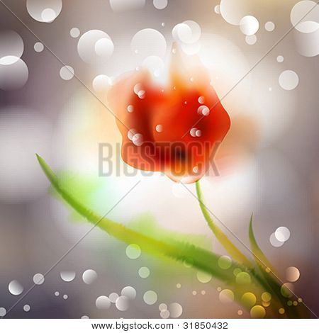 Spring and summer floral watercolor background with bokeh vector
