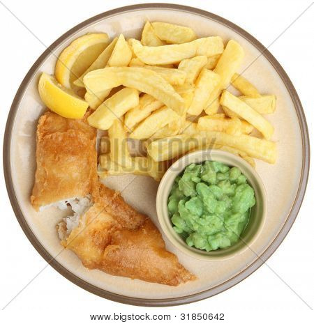 Battered cod fillet with mushy peas and chips.