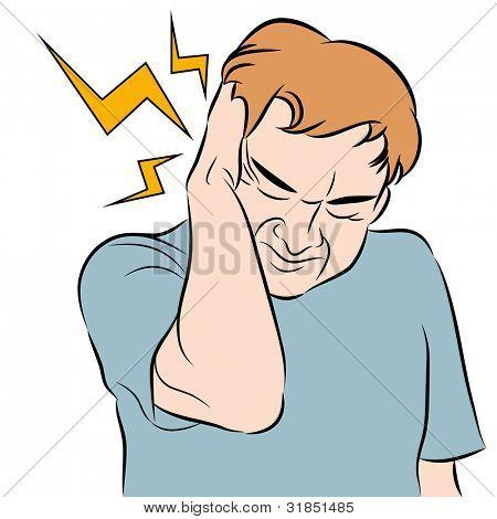 An image of a man with a headache.