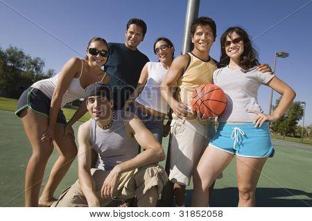 Friends at a Basketball Court