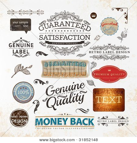 Set of vintage Premium Quality and Guaranteed labels, engraving leafs and flower and other vintage elements for retro design. Old paper texture.