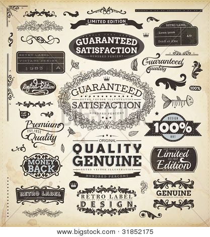 vector set: calligraphic design elements and page decoration, Premium Quality and Satisfaction Guarantee Label collection with black grungy design