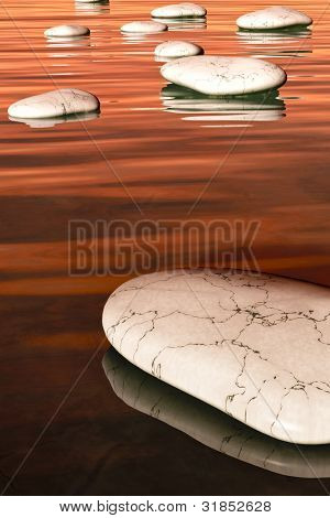 An image of some nice white step stones in the evening sea