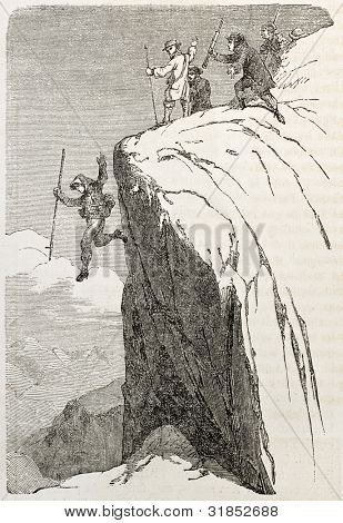 Melchior Bannholzer (alpine guide), jumping on Lauteraahorn snowy crest (Swiss Alps peak). Created by Girardet, published on L'Illustration, Journal Universel, Paris, 1863