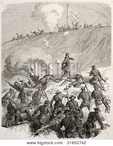 General Sherman throwing hand-grenade against confederate soldiers. Created by Godefroy-Durand, published on L'Illustration, Journal Universel, Paris, 1863