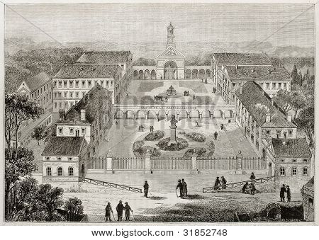 Hospice de la Reconnaissance old view (Gratitude Asylum), founded by Michel Grezin, Garches, France. Created by Meunier and Sellier, published on Magasin Pittoresque, Paris, 1882
