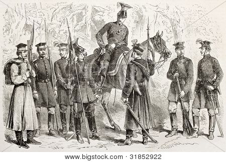 Polish army uniforms old illustration. Created by Janet-Lange, published on L'Illustration, Journal Universel, Paris, 1863