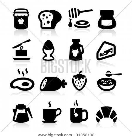 Frühstück Icons set elegante Serie