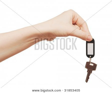 silver key with blank tag in hand isolated on white  space for your text