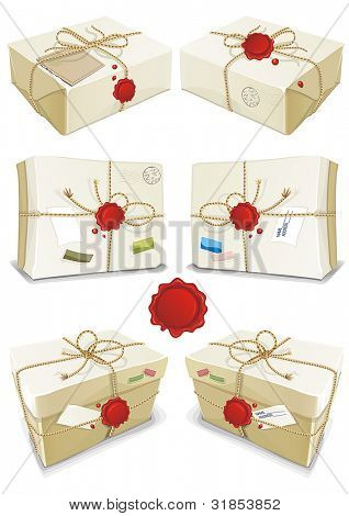 Many parcels wrapped in white paper tied with twine isolated on white background. Vector illustration set.