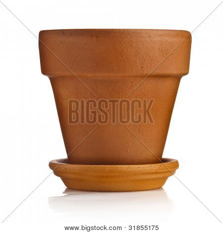 Clay flower pot with saucer isolated on white background