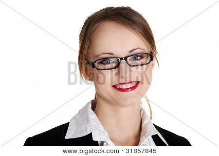Portrait of beautiful successful businesswoman. Isolated on white