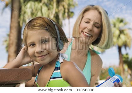 Girl and Grandmother at the Beach