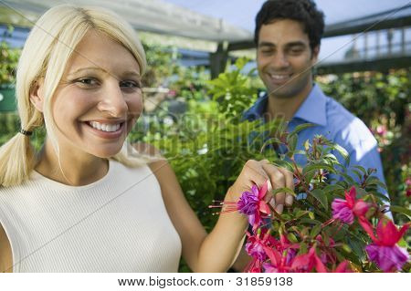 Couple Selecting Flowers