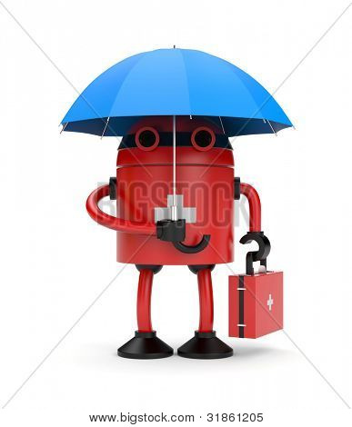 Doctor robot with umbrella. Image contain clipping path