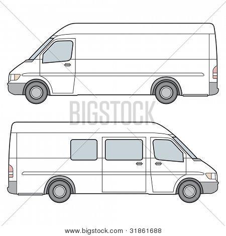 Side View of white minibus. Rasterized version