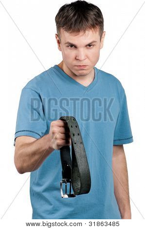 Portrait of man with belt on isolated white background