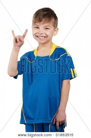 Little boy in ukrainian national soccer uniform on isolated white background