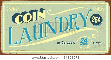 Vintage tin sign - Coin Laundry - Raster version