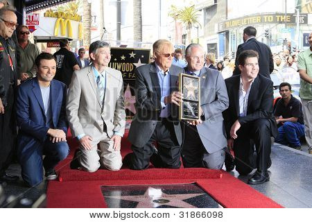 LOS ANGELES, CA - APR 5: Seth MacFarlane, Leron Gubler, Adam West, Tom LaBonge, Ralph Garman at a ceremony where Adam West is honored with a star on April 5, 2012 in Los Angeles, California