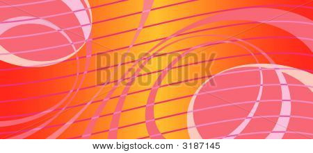 Horizontal Abstract Asymmetrical Bright Red Background With Waves And Bands