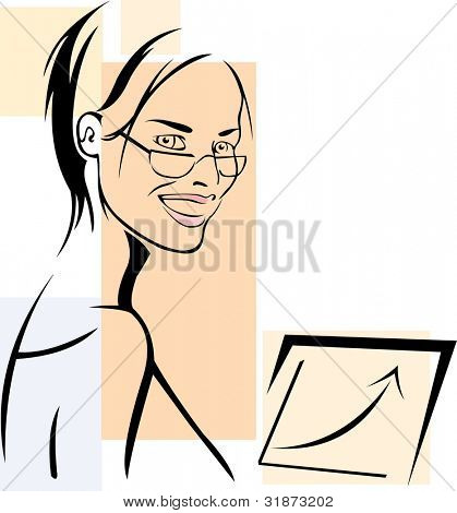 vector image of smiling businesswoman and growing graph