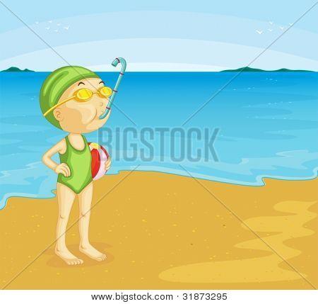 Ilustración de joven en la playa
