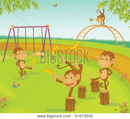 Monkeys in a playground with bananas