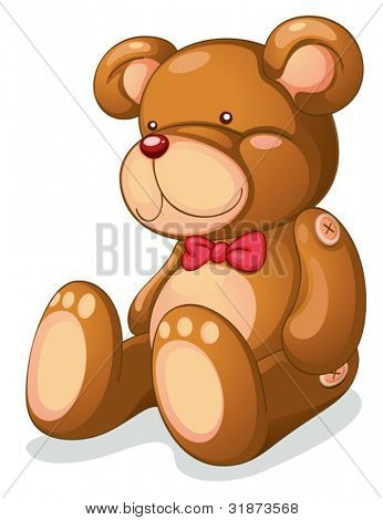 Isolated teddy bear on white