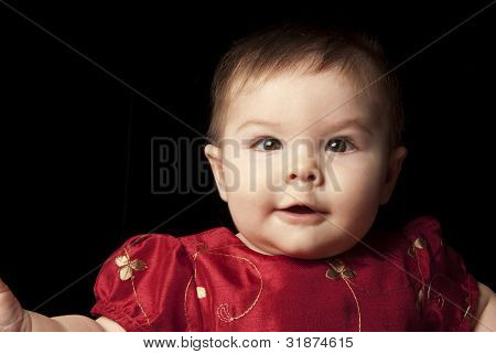 Baby In A Red Dress Laughing