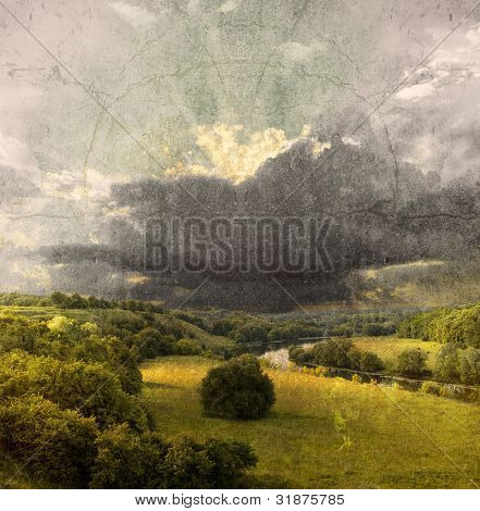 Landscape - meadow; vintage photo