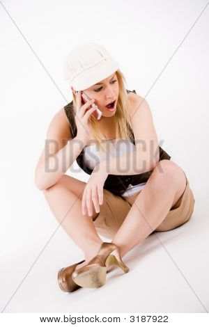 Blond Girl And Her Cellphone